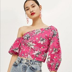 Top Shop | Pink Puff Off Shoulder Floral Top